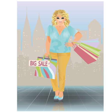 plus size girl: Plus size sale woman, vector illustration