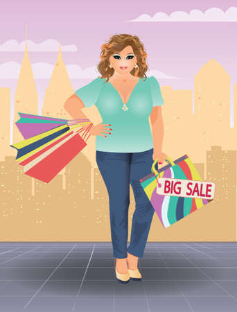 plus size girl: Plus size shopping woman, vector illustration