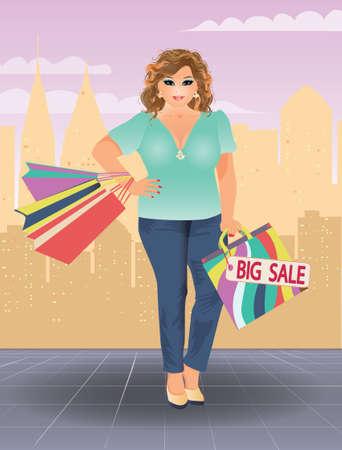 Plus size shopping woman, vector illustration
