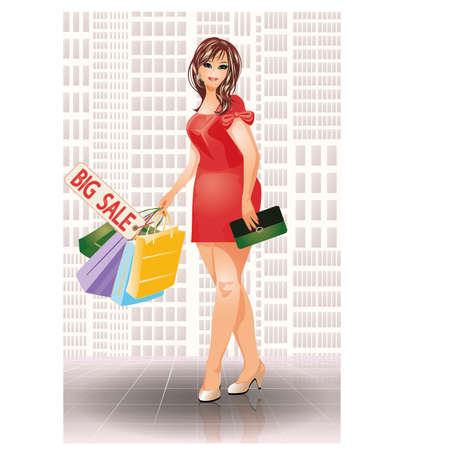 size: Plus size shopping fashion woman, vector illustration