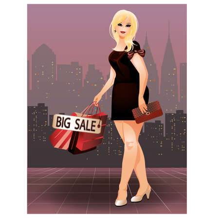 clutch cover: Plus size shopping woman in city, vector illustration