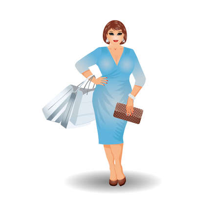 clutch cover: Plus size shopping woman, vector illustration