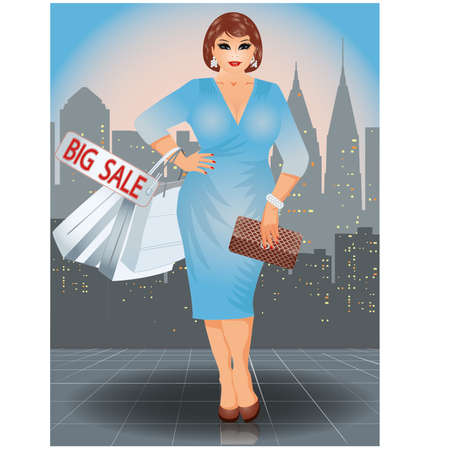 plus size: Plus size shopping woman in city, vector illustration