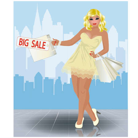 plus size: Plus size shopping girl in city, vector illustration