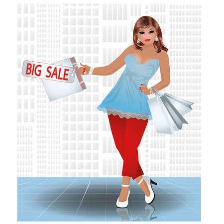 Plus size shopping girl, vector illustration Illustration