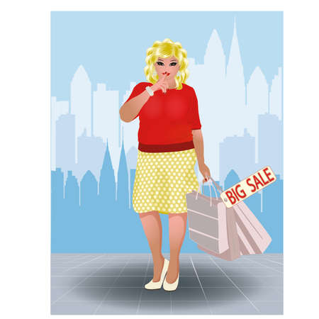 big size: Plus size shopping woman in city, vector illustration