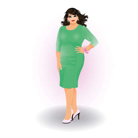 plus size girl: Plus size fashion urban woman, vector illustration Illustration
