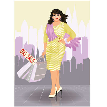 plus size girl: Plus size fashion woman with shopping bags Illustration