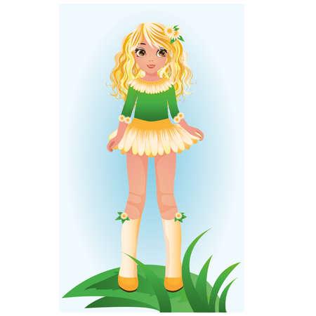 skirt: Camomile young girl, vector illustration Illustration