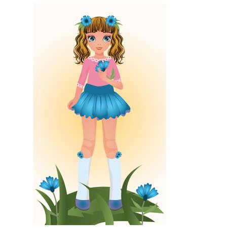 skirt: Blue Cornflower young girl, vector illustration