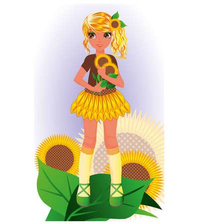 Tournesol jeune fille, illustration vectorielle Vecteurs