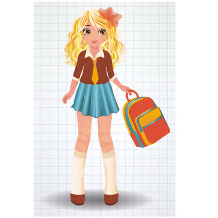 backpack: Young school girl, vector illustration Illustration