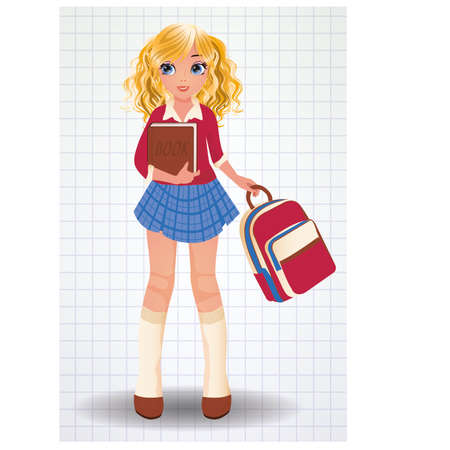cheerfulness: School girl with book, vector illustration