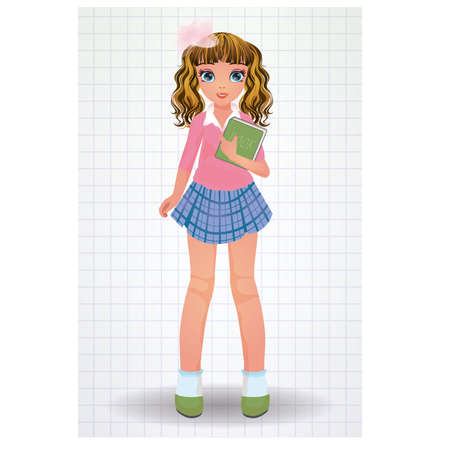 secondary education: Beautiful school girl with book, vector illustration