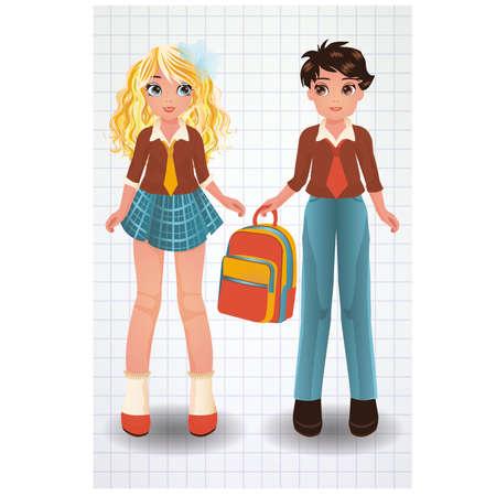 secondary education: Cute school girl and boy, vector illustration
