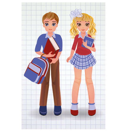 secondary education: Cute school boy and girl with book, vector illustration Illustration