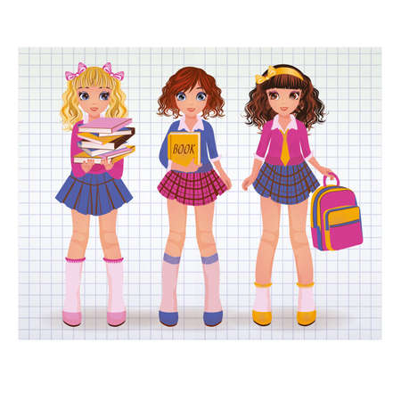 skirt: School girlfriends with books, vector illustration Illustration