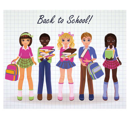 latina: Cute little school girl and boy friends, vector illustration