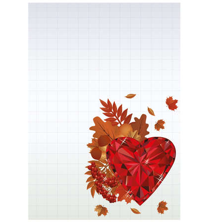 ruby: Autumn background with ruby heart Illustration