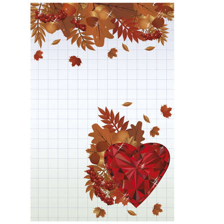 ruby: Autumn card with ruby heart Illustration