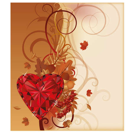 ruby: Autumn design with ruby heart