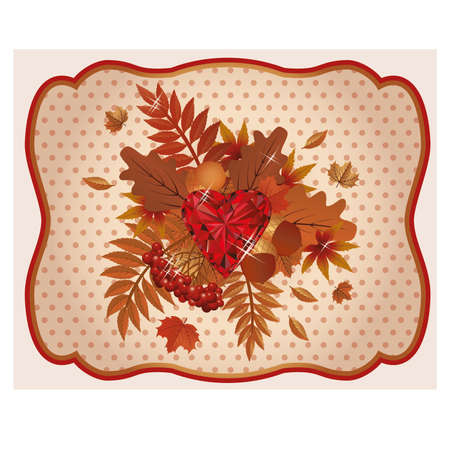 ruby: Autumn card ruby heart vintage Illustration