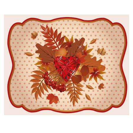 ruby: Autumn card ruby heart vintage Illustration