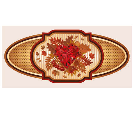 ruby: Vintage autumn banner with ruby heart