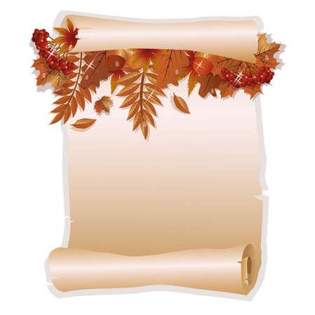 vintage paper: Autumn invitation card in old style Illustration