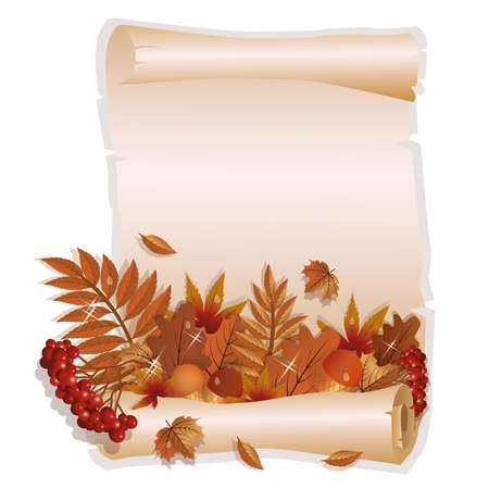 old postcards: Autumn greeting card in vintage style