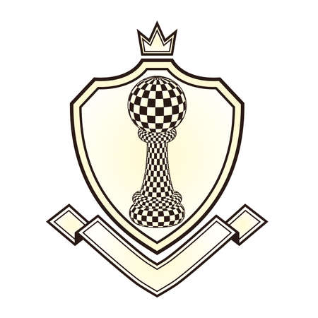 blanch: Heraldry Royal crest with chess pawn, vector illustration