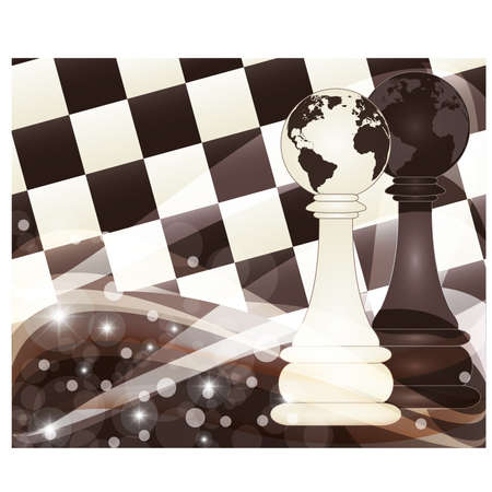 blanch: Chess banner with two pawn, vector illustration