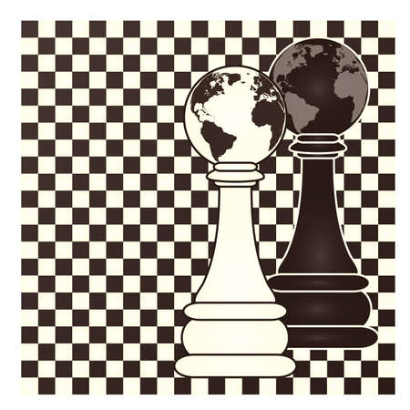blanch: Chess earth pawn, vector illustration Illustration