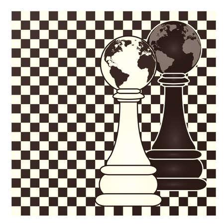 Chess earth pawn, vector illustration Ilustração