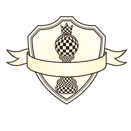Chess blazon with pawn and crown, vector illustration Illustration
