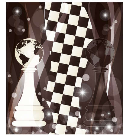 blanch: Chess background with two chess pawn, vector illustration