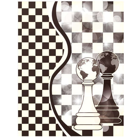 pawn: Abstract banner with chess pawn, vector illustration