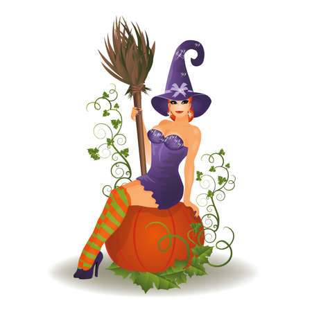 flirty: Halloween witch and pumpkin, vector illustration