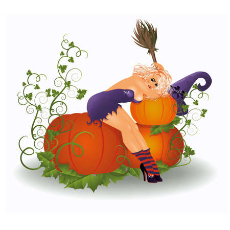 Halloween   witch with pumpkins, vector illustration