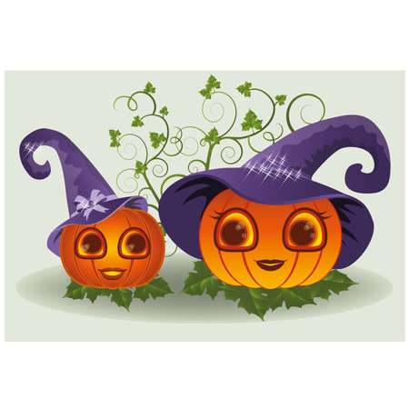 Halloween mom and baby pumpkins, vector illustration