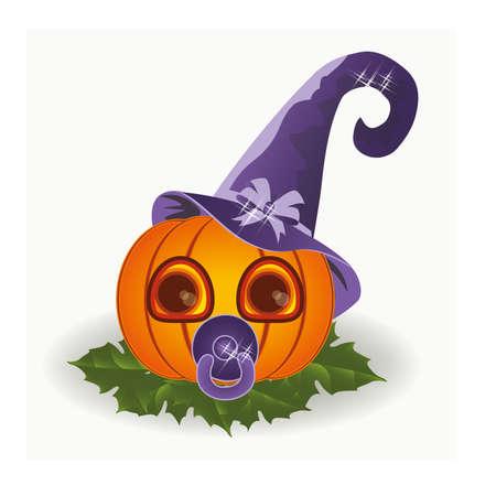 calabazas de halloween: la calabaza del bebé de Halloween con chupete, ilustración vectorial
