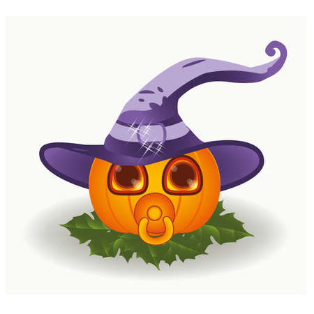 babys dummies: Halloween baby pumpkin with nipple , vector illustration