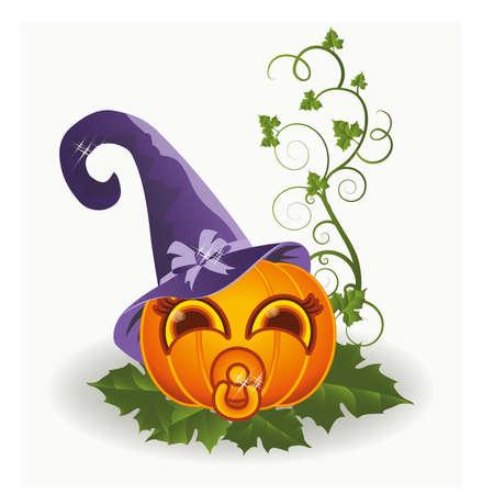 babys dummies: Cute halloween baby pumpkin, vector illustration