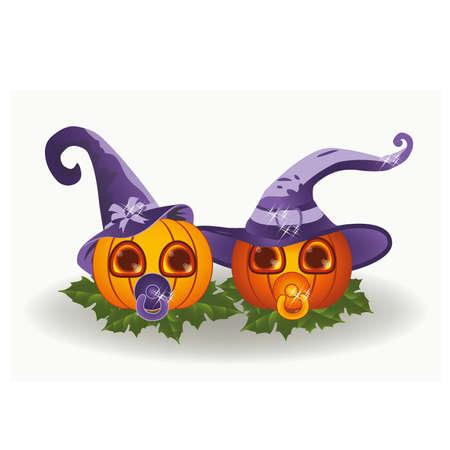 babys dummies: Cute halloween baby pumpkins, vector illustration