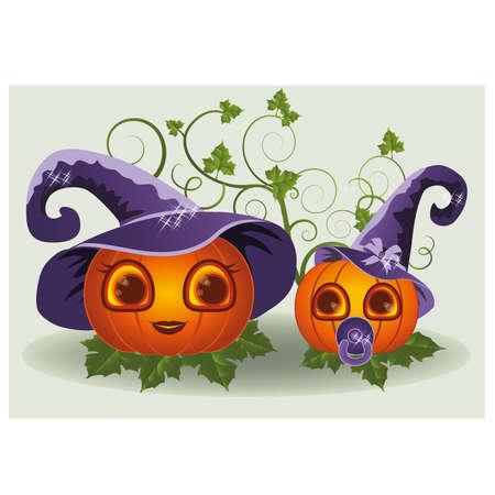 calabazas de halloween: Calabazas madre y el niño de Halloween, ilustración vectorial