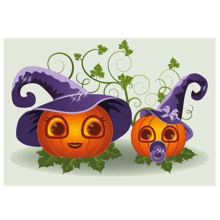 bimbo: Halloween pumpkins mother and child, vector illustration