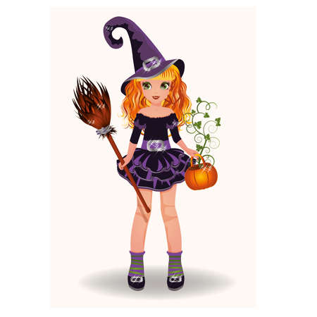 scary girl: Halloween little witch with pumpkin and broom, vector illustration Illustration