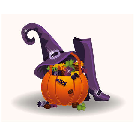 halloween pumpkin: Halloween pumpkin with witch hat and boots, vector illustration