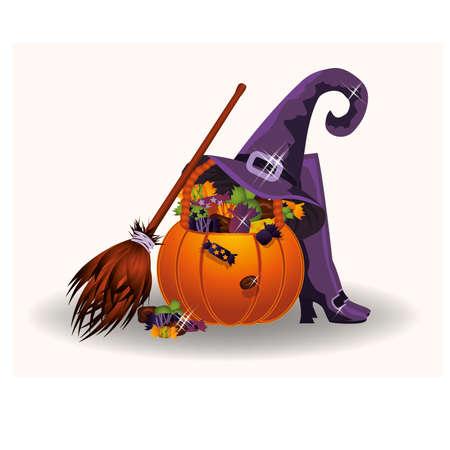 fruits in a basket: Halloween candy pumpkin, vector illustration
