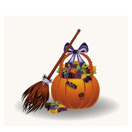 treats: Calabaza de Halloween bruja caramelos, ilustración vectorial